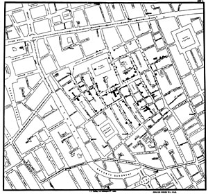 John Snow's 'ghost map' of deaths in the Broad St cholera epidemic