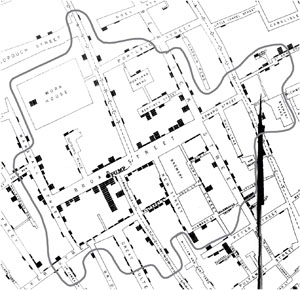 Voronoi diagram showing cholera deaths and the community that used the Broad Street pump