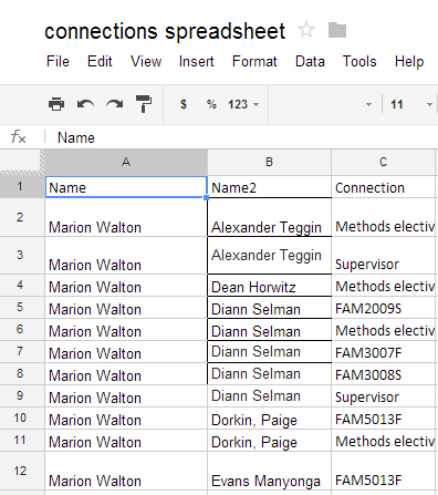 Spreadsheet listing connections in our class