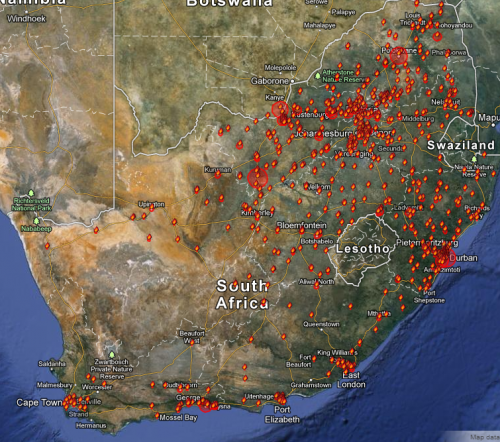 Police crowd control data - Map of protests in South Africa 01/01/2009-30/11/2012
