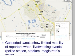Geocoded tweets show limited mobility of journalists